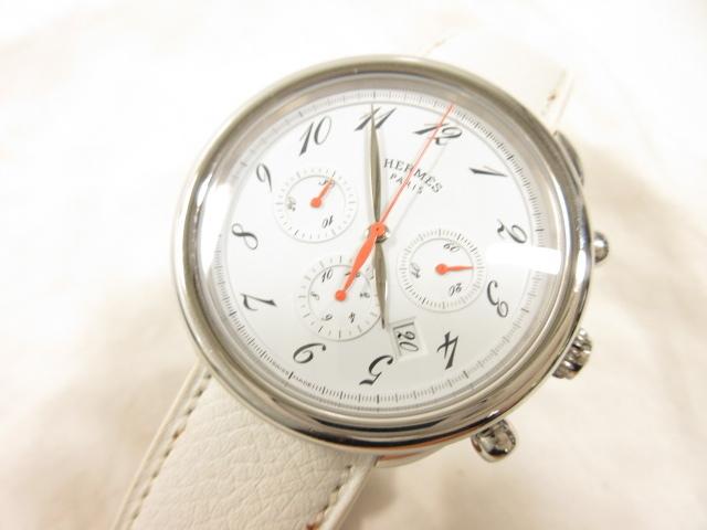 エルメス HERMES アルソー クロノグラフ 白文字盤 腕時計 ご来店のお客様よりお買取り♪